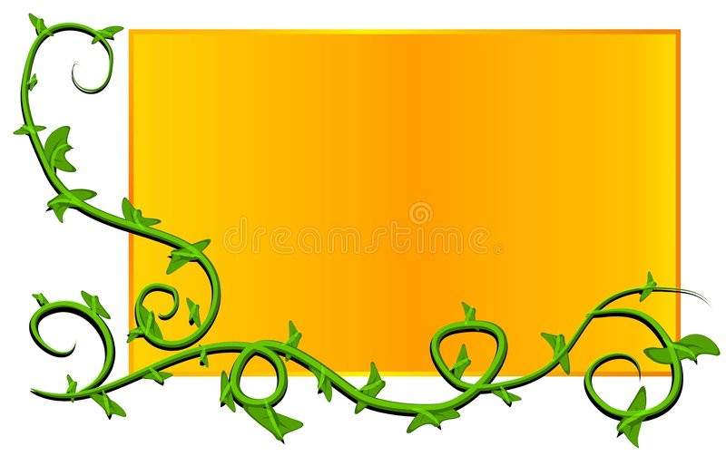 Web Page Logo Vine Gold. A simple green and gold vine logo with potential for adding your own decorative flowers or ornaments to the vine stock illustration