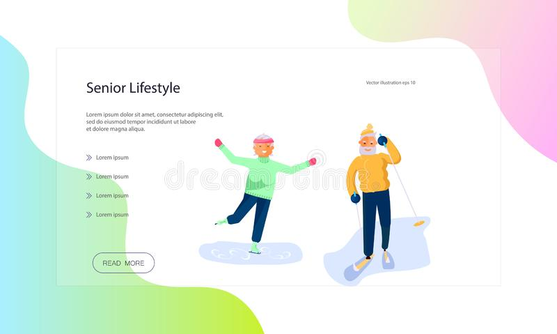 Web page of seniors lifestyle. Web page of healthy winter activity for grandparents. Elderly people characters. Grandparents family Seniors isolated on white vector illustration