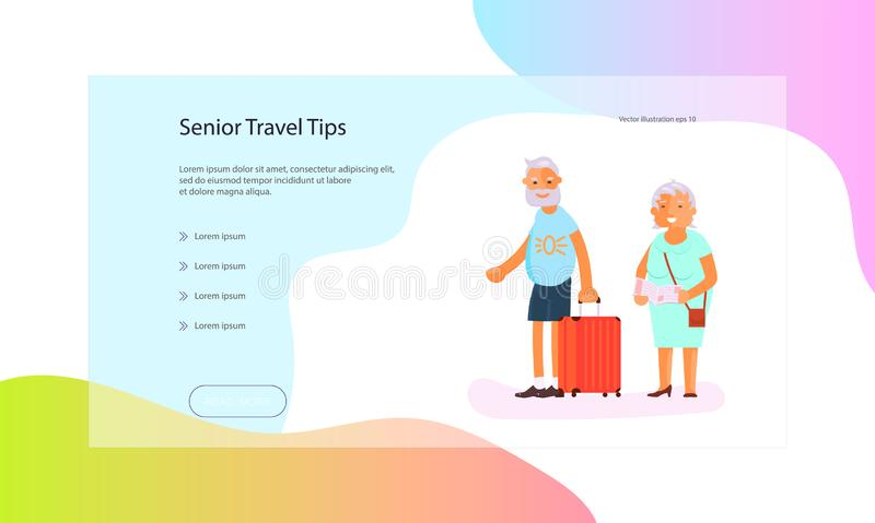 Web page of seniors lifestyle. Web page of healthy active lifestyle retiree for grandparents. Elderly people characters.  Grandparents family isolated on white vector illustration