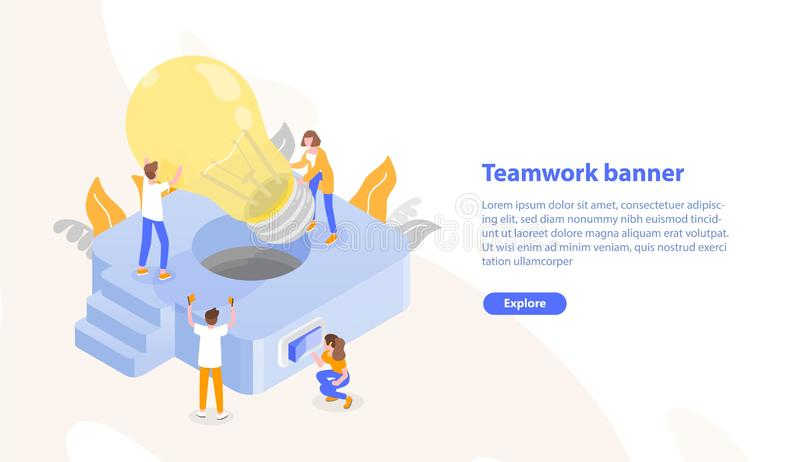 Web page template with group of people putting giant lightbulb into light fixture and place for text. Teamwork or stock illustration