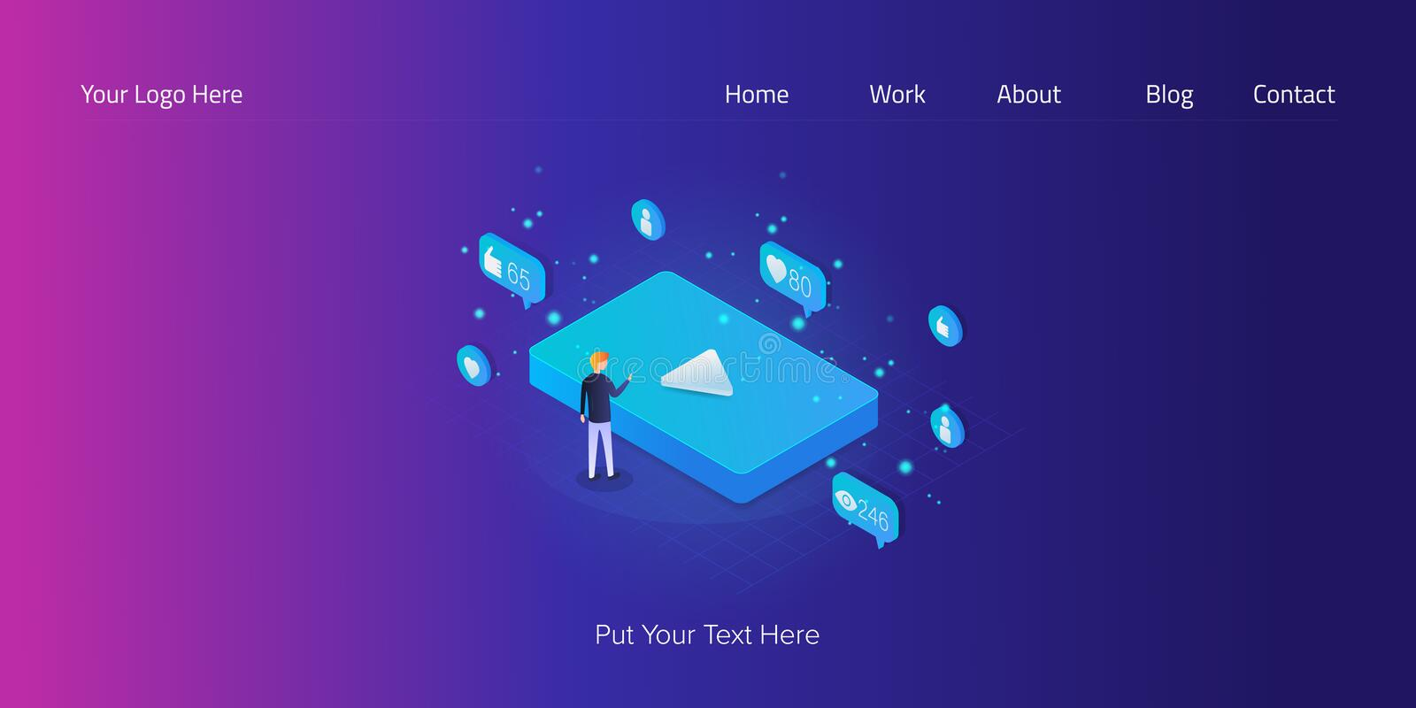 Man touching big blue video icon, seo, social media and digital marketing concept, 3d isometric web banner. royalty free illustration