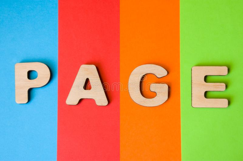 Web page word concept photo. Word page from 3D volume letters is in background of four colors - blue, red, orange and green. Using. Web pages in SEO, internet stock photography