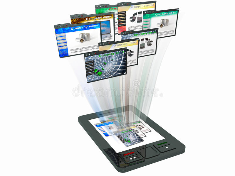 Web pages. Communicator with web pages on white background stock illustration