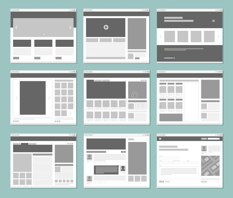 Web pages layout. Internet browser windows with website elements interface ui template vector design. Illustration of window browser, website menu or homepage stock illustration