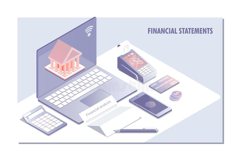 Web-pagina de ontwerpmalplaatjes voor Financiële staat, analyse en statistiek servise online Vector illustratie royalty-vrije illustratie