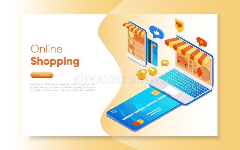 Web-pagina ontwerpmalplaatjes voor online het winkelen Laptop en smartphone met het virtuele scherm Illustratie van Internet-tijd royalty-vrije illustratie