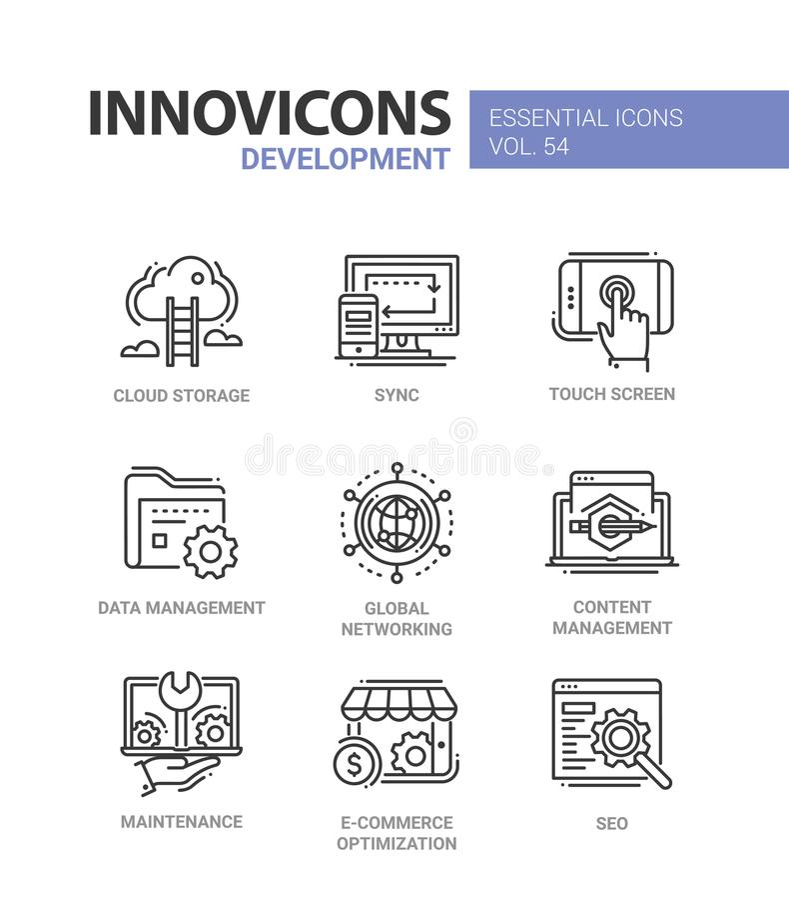 Web-pagina Ontwikkeling - moderne vector geplaatste lijnpictogrammen royalty-vrije illustratie