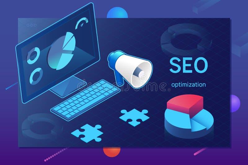Web-pagina van de Seooptimalisering malplaatje sometric SEO, succes die Internet optimaliseringsproces zoeken stock illustratie