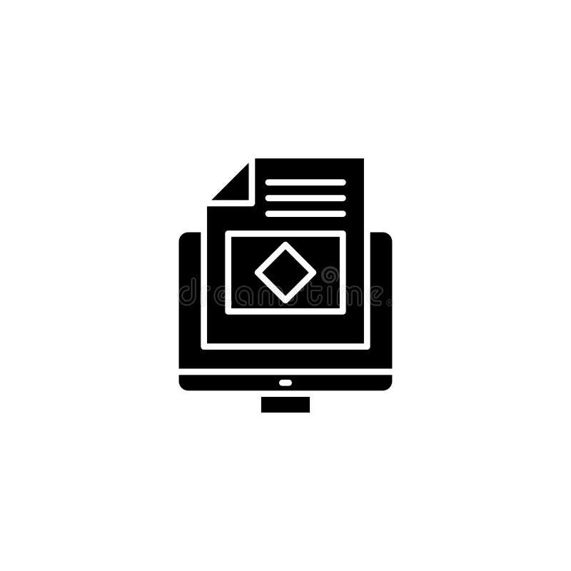 Web-pagina zwart pictogramconcept Web-pagina vlak vectorsymbool, teken, illustratie royalty-vrije illustratie
