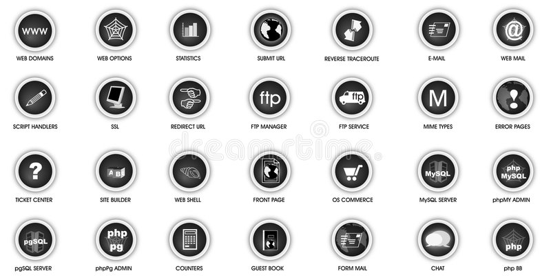 Web panel icon set royalty free stock photography
