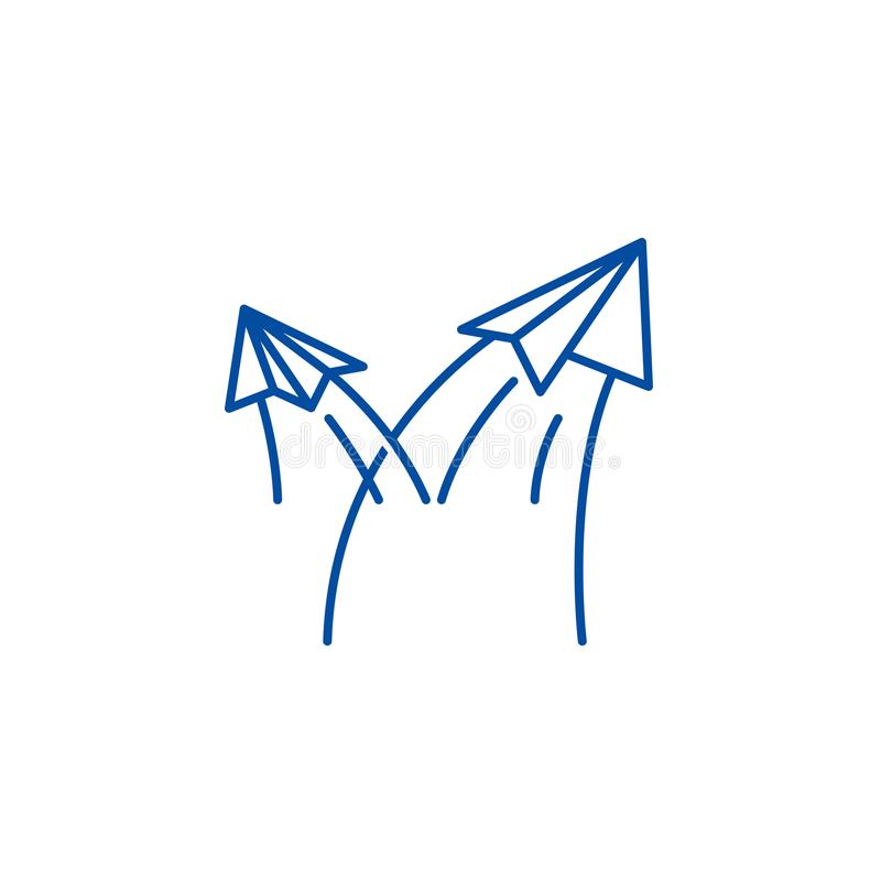 Paper airplanes line icon concept. Paper airplanes flat  vector symbol, sign, outline illustration. royalty free illustration