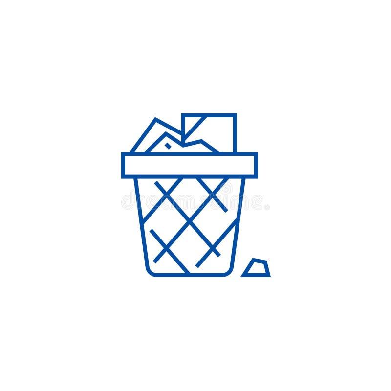 Paper bin,office garbage line icon concept. Paper bin,office garbage flat  vector symbol, sign, outline illustration. royalty free illustration