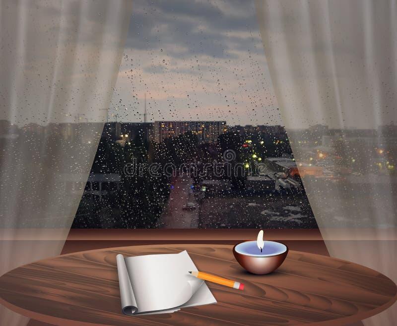 Rainy day, rain drops on window glass, evening scene, indoor, cozy room interior, journal writting, candle light vector illustration