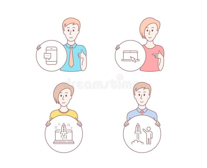 Web. People hand drawn style. Set of Portable computer, Start business and Smartphone message icons. Launch project sign. Notebook device, Launch idea, Cellphone stock illustration