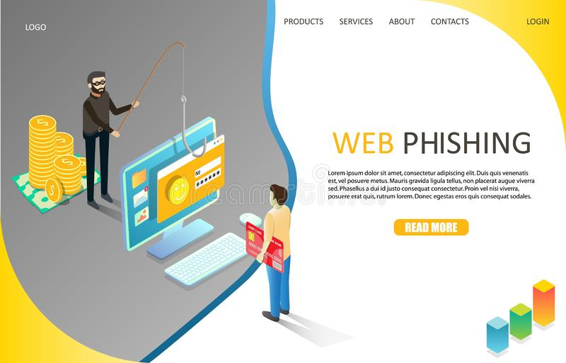 Web phishing landing page website vector template. Web phishing landing page website template. Vector isometric illustration of fraudster fishing user private royalty free illustration
