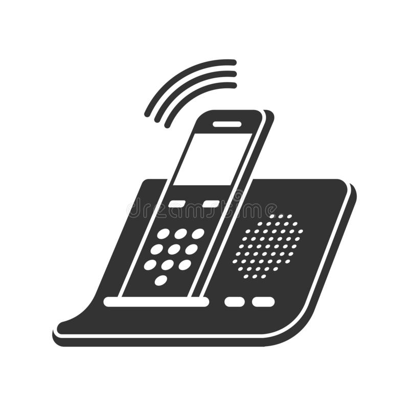 Phone icon in trendy flat style isolated on white background. Push-button telephone icon. Telephone symbol. royalty free illustration