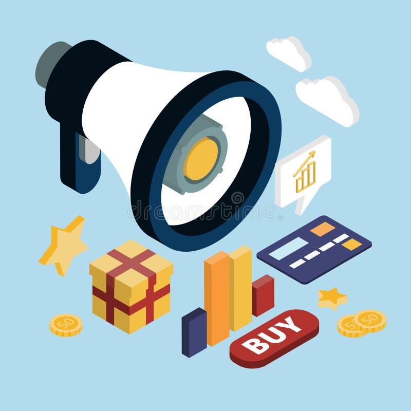 Web piano 3d di vendita online di promozione isometrico illustrazione di stock