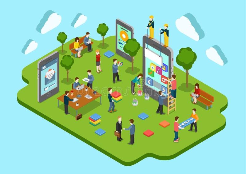 Web plano 3d del concepto del desarrollo de aplicación móvil isométrico stock de ilustración