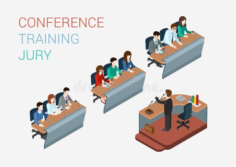 Web plano 3d del concepto del jurado de la corte del entrenamiento del negocio isométrico ilustración del vector