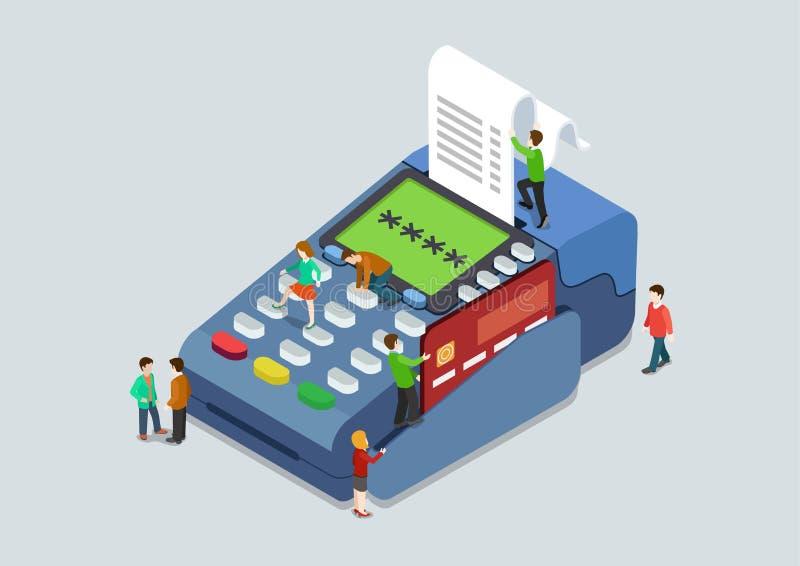 Web plano 3d del concepto terminal del pago del perno de la tarjeta de crédito isométrico stock de ilustración