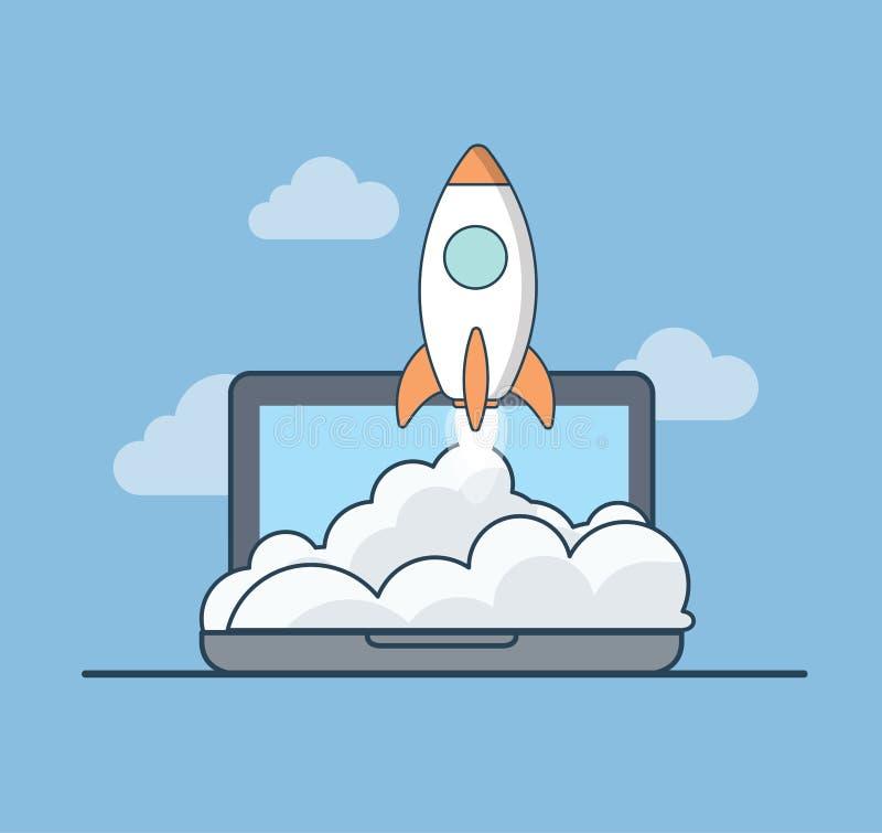 Web plano linear del ordenador portátil de la mosca del cohete de la puesta en marcha del negocio stock de ilustración