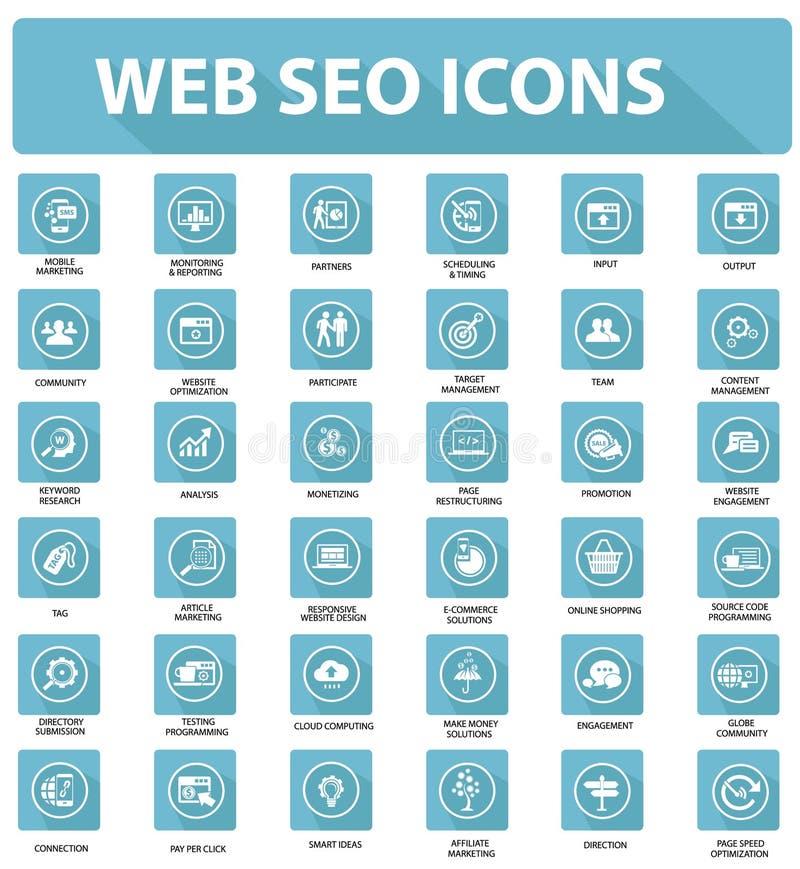 Web plano Seo Icons, versión azul ilustración del vector
