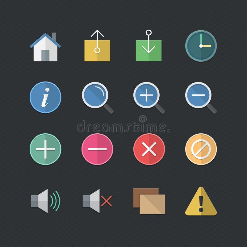 Web plat de style de couleur et icônes mobiles d'application réglés illustration stock