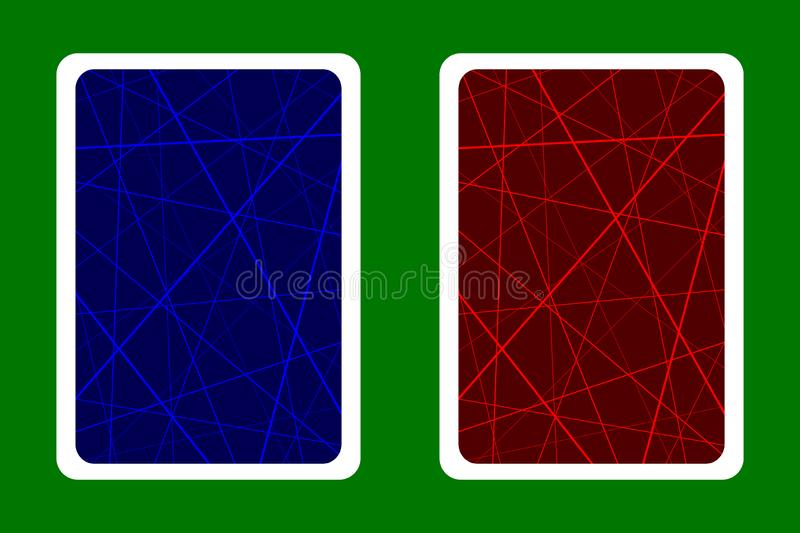 Playing Card Back Designs - Random chaotic lines abstract geometric pattern - blue and red royalty free illustration