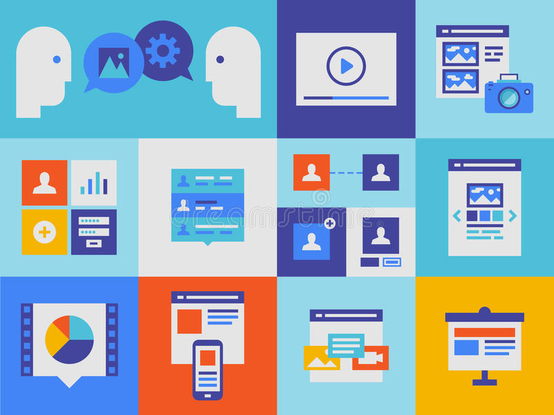 Web presentation and interface icons. Flat design vector illustration icons set of web presentation product and user interface elements in stylish colors vector illustration