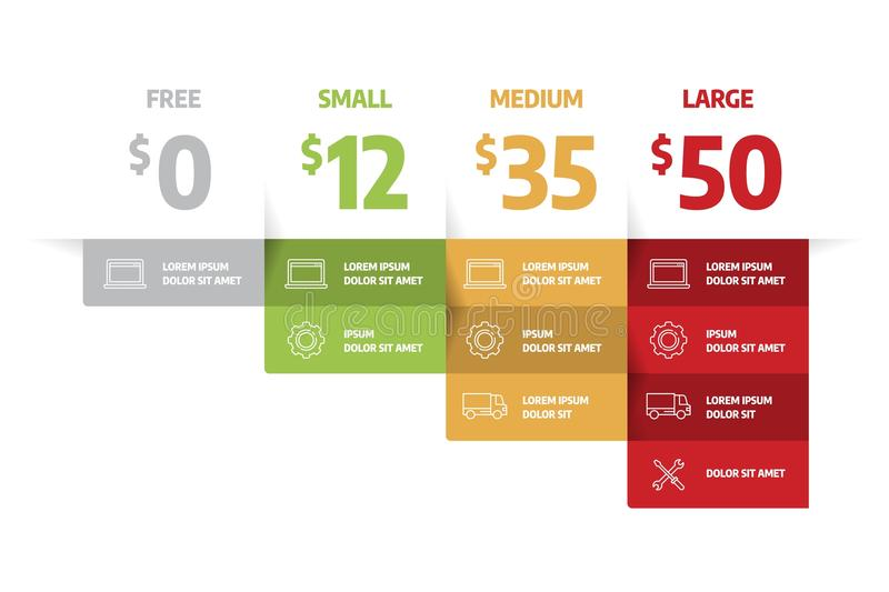 Web pricing table template for business plan. royalty free illustration
