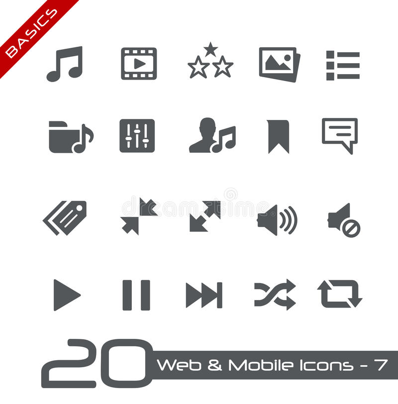 Web & princípios móveis de Icons-7 // ilustração royalty free