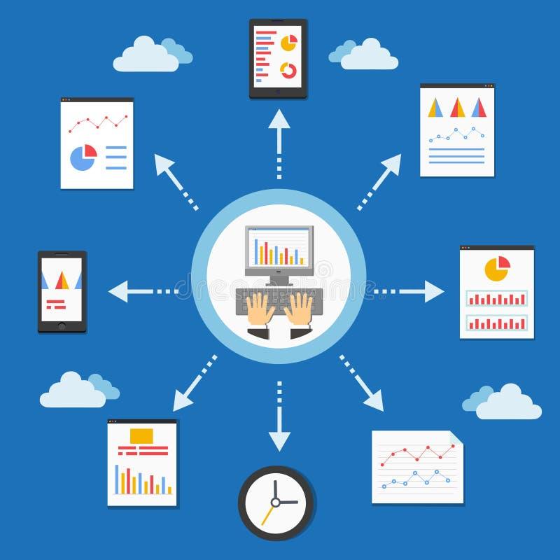 Web programmering en analytics royalty-vrije illustratie