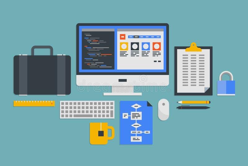 Web programmeringsontwikkeling vector illustratie