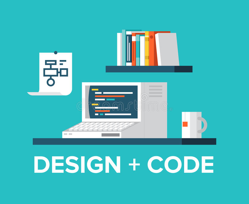 Web programming and design with retro computer illustration. Flat design style modern vector illustration concept of office workplace with retro computer vector illustration