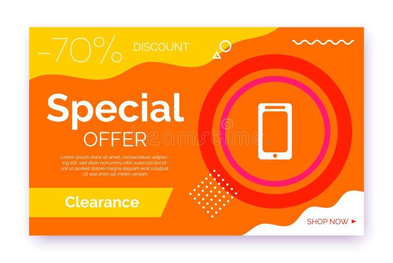 Web promotion banner for sale, offer, advertisement. vector illustration