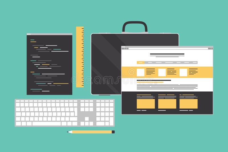 Web que cifra y que programa el ejemplo plano ilustración del vector