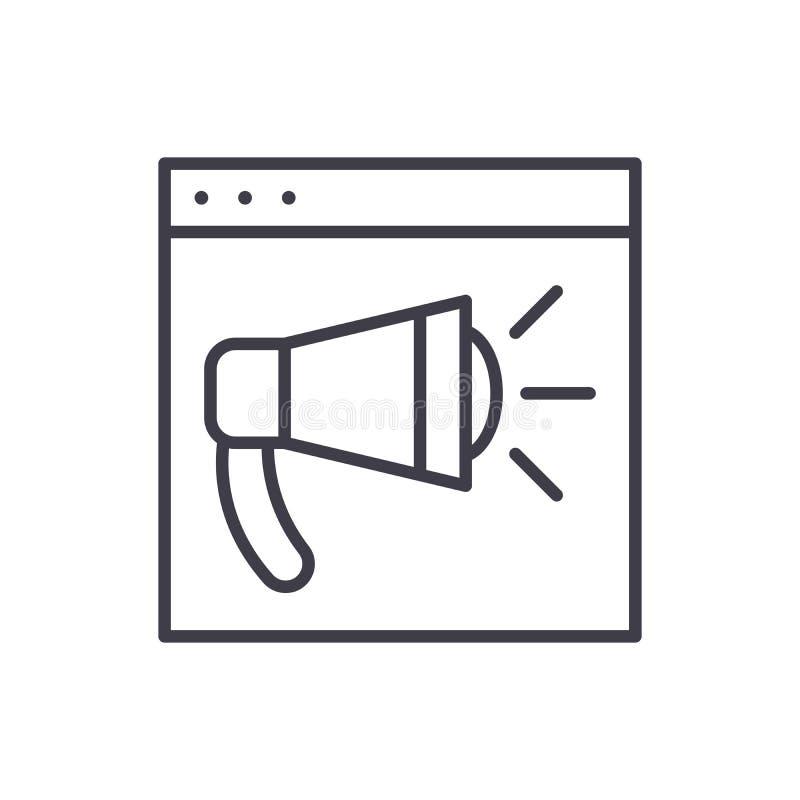 Web que hace publicidad de concepto negro del icono Web que hace publicidad del símbolo plano del vector, muestra, ejemplo stock de ilustración