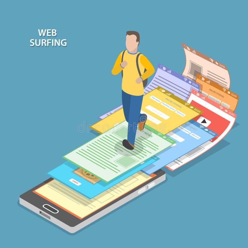Web que practica surf concepto plano isométrico del vector stock de ilustración