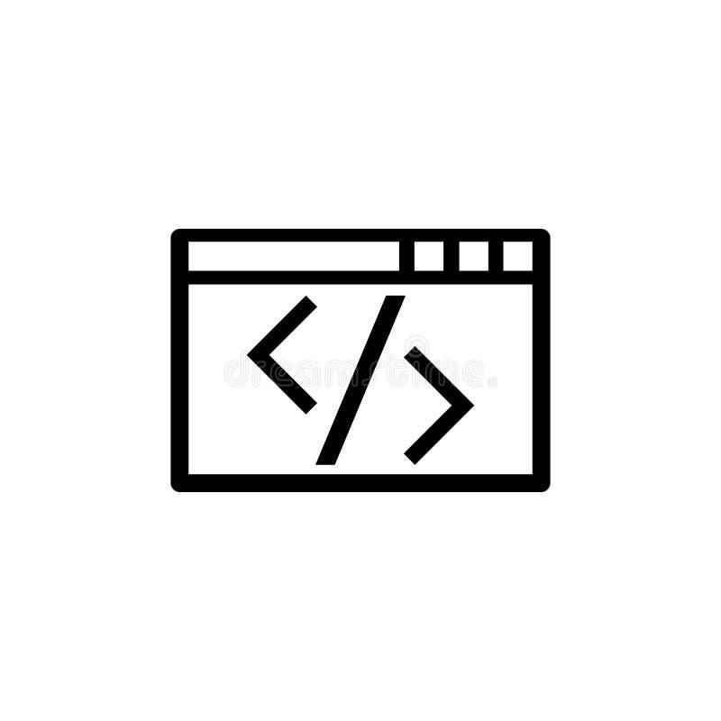 Web que programa, aplicação que edita o ícone liso do vetor do código de Digitas ilustração do vetor