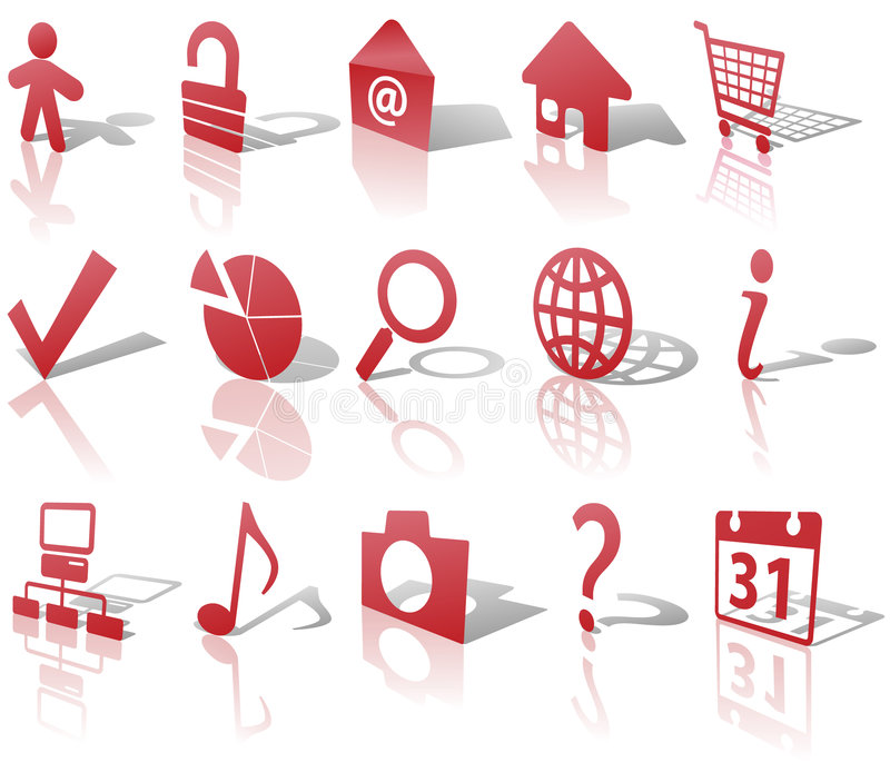 Download Web Red Icons Set Shadows & Reflections Angled 1 Stock Vector - Image: 5470177