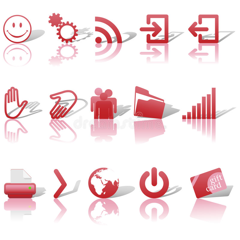 Web Red Icons Set Shadows & Relections on White 2 stock illustration