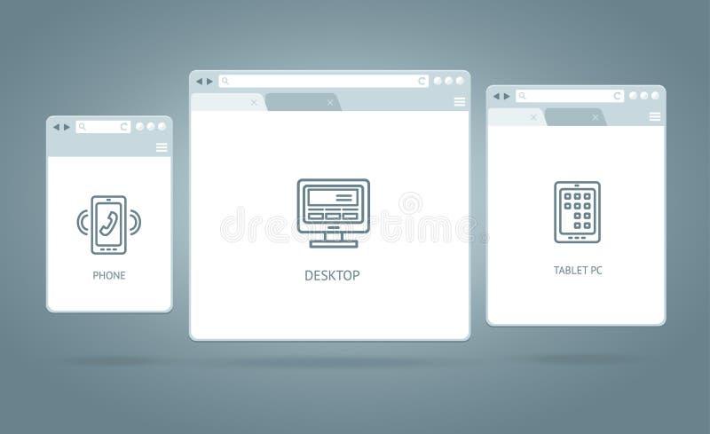 Web responsiva das janelas do browser Vetor ilustração stock