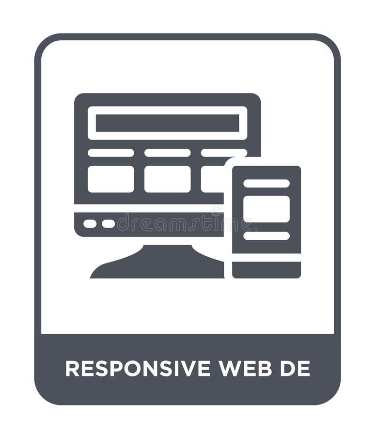 Web responsiva de ícone no estilo na moda do projeto Web responsiva de ícone isolado no fundo branco ícone responsivo de Web de v ilustração royalty free