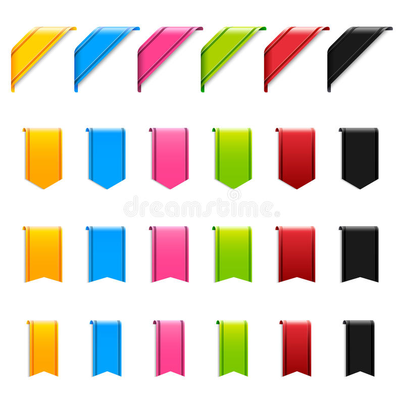 Web Ribbons. A set of colorful and glossy web ribbons in various styles