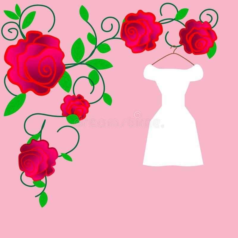 web Robes de mariage élégantes pour la jolie jeune mariée Illustration d'isolement de vecteur dans le style plat Silhouette class illustration de vecteur