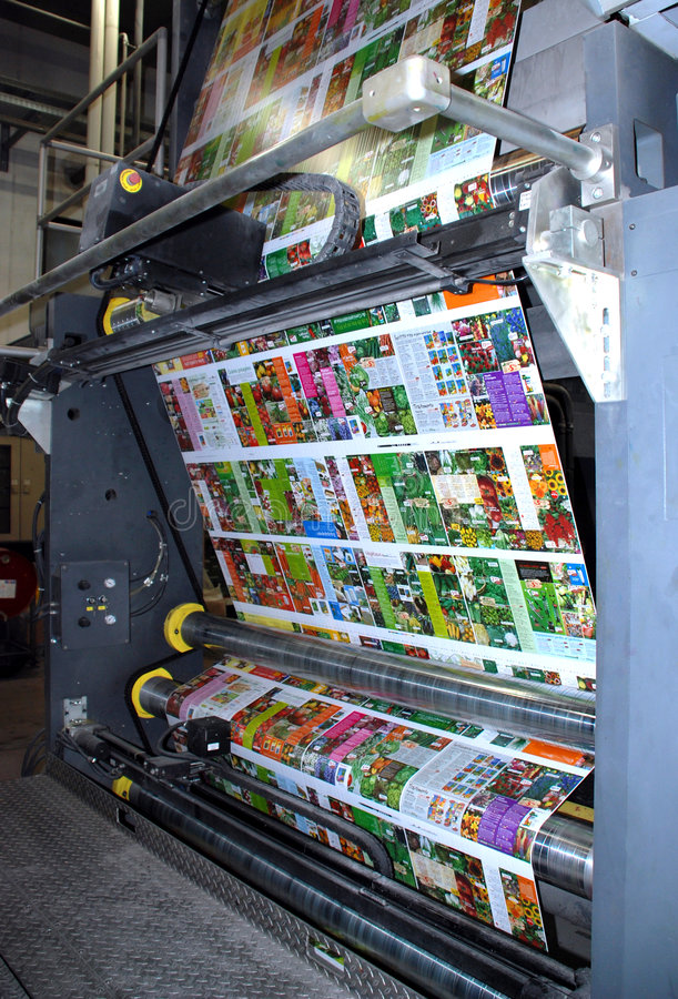 Web (rolls) offset press - Detail stock photography