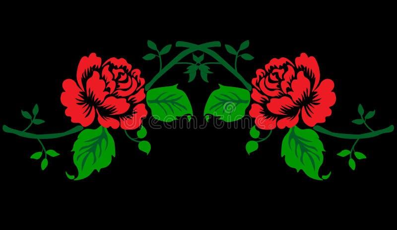 web Rood rozenborduurwerk vector illustratie
