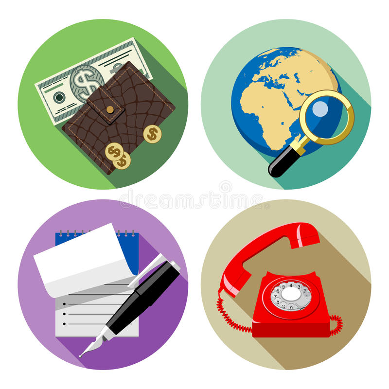 Web round icons with red phone, globe and lens, notepad and pen, wallet and money stock illustration