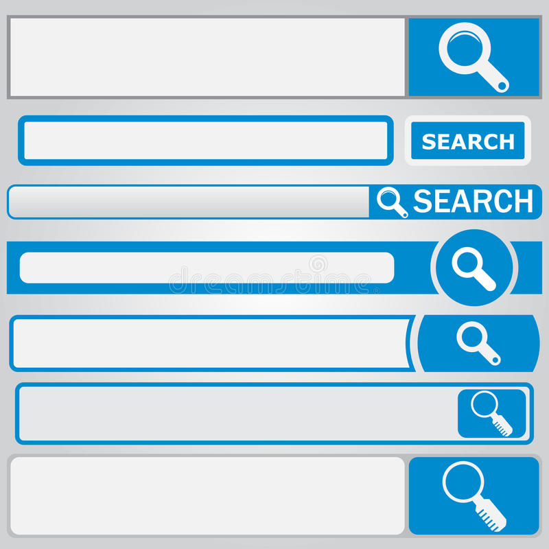 Web search form. With button and loupe on it stock illustration