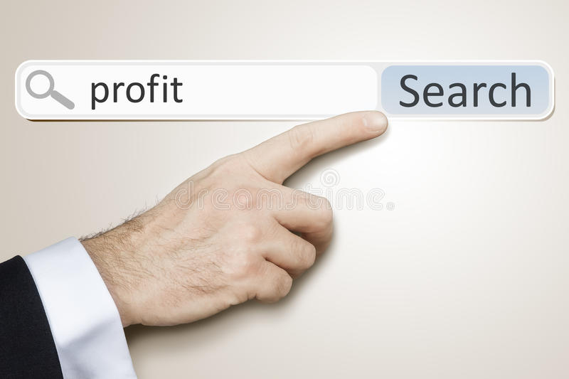 Web search. An image of a man who is searching the web after profit royalty free stock photography